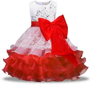 0730d894616 Sleeveless Girls Dresses Clothes Party Princess 5 6 7 8 year birthday Dress  Christmas baptism