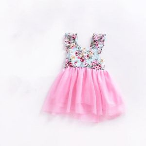 78f10ef651c Girls Cotton Printed Stitching Mesh Tutu Sleeveless Dress
