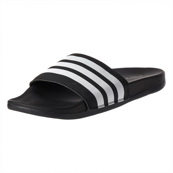 0dec70a11 adidas Adilette Stripes Slides Flat Sandals for Women - Core Black White.  by adidas