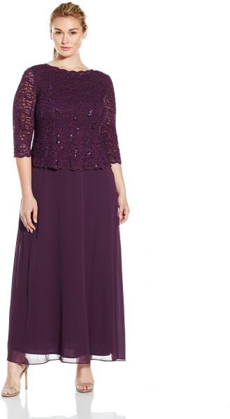 688204af111 Alex Evenings Women s Plus Size Tea-Length Lace Mock Dress