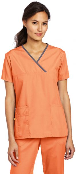 d3170267440 WonderWink Women's Scrubs Charlie 5 Pocket Y-Neck Wrap Top, Orange Sherbet,  X-Small. by WonderWink, Uniform - Be the first to rate this product