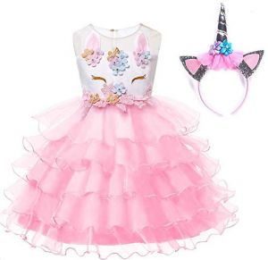 3ee6cc0c15 3 -10Y Girl Unicorn Costume Pageant Flower Princess Party Dress with  Headband