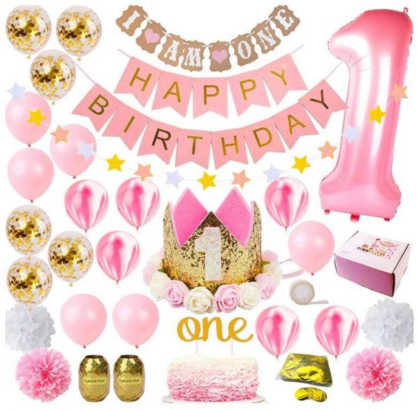 Party 1st Birthday Decorations For Girl Mega Set