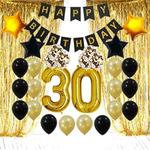 30th Birthday Decorations Gifts 30 Party Supplies Happy Banner Gold Foil Fringe Curtains Number Balloons And Confetti