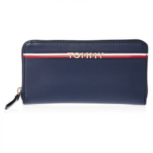 Tommy Hilfiger Corp Wallet for Women, Leather - Navy