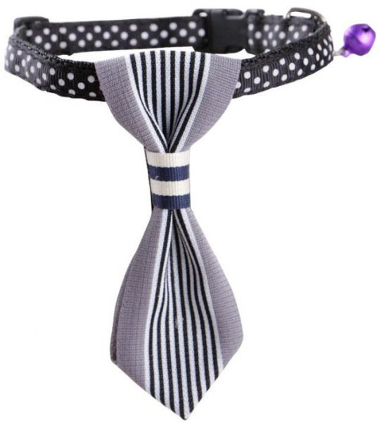 Pet Dog Cat Cotton Striped Bow Tie Collar Neck Tie Charms Necktie  White Collar  Party Accessories or Daily Wear 10