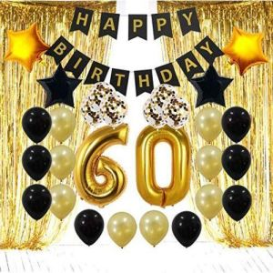 60th Birthday Decorations For The Best Party Includes Happy Banner Large Number 60 Latex Balloons And Confetti