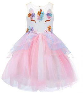 85f2354314 Flower Girl Rainbow Unicorn Tulle Dress with 3D Embroidery Beading for 5-6Y