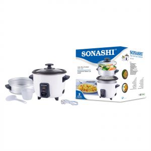 75672d20565 Sonashi 0.6 Ltr Rice Cooker With Steamer Black