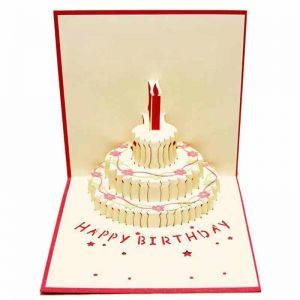 3DHappy Birthday Card 3 Layers Cake Pop Up With Cute Red Candle Envelope Included