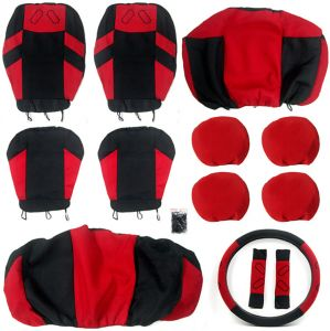 Tirol Universal 13PCS Car Seat Cover Front Seat Bench Seat Covers Wheel Cover Set Red//Blue//Gray//Beige