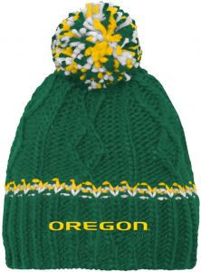 d8d4807d6e6df NCAA by Outerstuff NCAA Oregon Ducks Youth Girls Cable Knit Cuffless Hat  w Pom