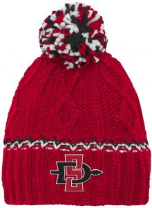 7e2a523337f NCAA by Outerstuff NCAA San Diego State Aztecs Youth Girls Cable Knit  Cuffless Hat w Pom