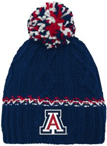 90308626a63 NCAA by Outerstuff NCAA Arizona Wildcats Youth Girls Cable Knit Cuffless Hat  w Pom