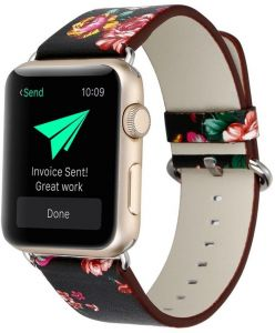 993450d9f Leather Band for Apple Watch Band 42mm Floral Pattern Replacement Strap  Bracelet for Apple Watch Series 3 2 1 Black and Red Flower