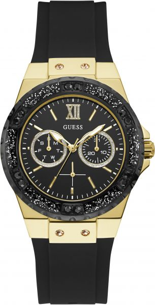 Guess W1053l7 Analog Silicone Casual Watch For Women Black Gold