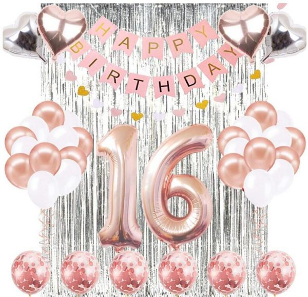 16th Birthday Decorations Banner Balloon Happy Rose Gold Number Balloons 16 Years Old