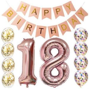18th Birthday Decorations Party Supplies Balloons Rose Gold18th BannerTable Confetti Decorations18th Gifts For Girlsuse
