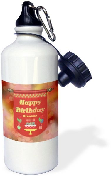 3dRose Wb 186403 1 Happy Birthday Grandma Banner Cake With Gifts And Balloons Sports Water Bottle Multicolor 21 Oz