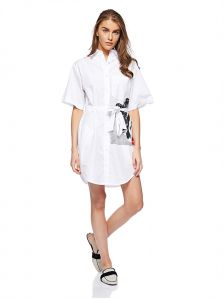 69fae9b086c Calvin Klein J20J209694 Flag Print Shirt Dress for Women - Bright White