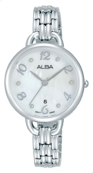 4a7232972 Alba AH7Q41X1 Analog Stainless Steel Dress Watch for Women - Silver