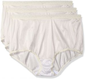 792de7db6bdc Shadowline Women's Plus Size Panties-Low Rise Nylon Brief (3 Pack), Ivory,  11