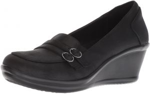 c35301ba87 Skechers Women's Rumblers-Frilly-Wedge Heeled Dressy Casual Double Buckle Loafer  Pump, Black, 7.5 M US