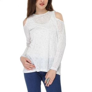 08937d4f78d Andora Cold Shoulder Long-Sleeve Crew-Neck Sheer Blouse for Women - Heather  White