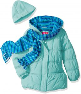 2864afdf7c070 Pink Platinum Little Girls  Stripe Puffer with Hat and Scarf