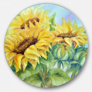 10 by 10-Inch 3dRose dpp/_25719/_1 Yellow and Green Floral Abstract Art-Wall Clock