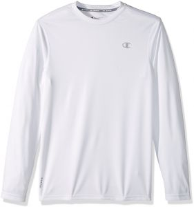 cfb728270 Champion Men's Double Dry Heather Long Sleeve T-Shirt, White, Medium
