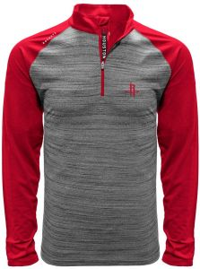 wholesale dealer cf273 888a8 NBA Houston Rockets Men s Vandal Wordmark Quarter Zip Mid-Layer Apparel,  Heather Grey Flame Red, X-Large