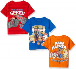9b8023f6 Nickelodeon Boys' Little Boys' Paw Patrol and Blaze 3 Pack T-Shirts,  Orange/Blue/Red, 7