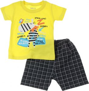 49f868a650f Skills Zebra Print Cotton T-shirt and Window Pane Plaid Shorts Set for Boys  - Yellow and Black