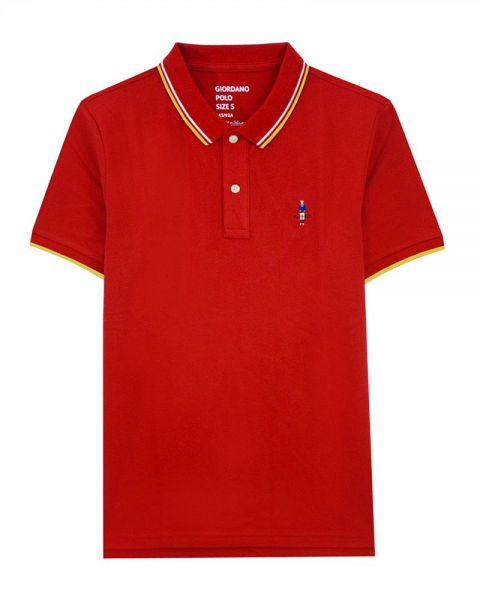 eae5d66367 Giordano Classic Embroidery Polo for Men, Cotton, Red