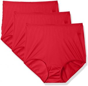 506128c00627 Shadowline Women's Plus Size Hidden Elastic Nylon Full Brief Panty 3-Pack,  Red, 8