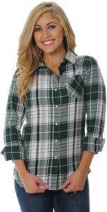 25c401a1e74 UG Apparel NCAA Michigan State Spartans Women's Boyfriend Plaid Shirt, Large,  Green/Grey/White