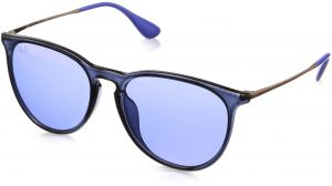 a027a38db Ray-Ban Women's Erika (f) Non-Polarized Iridium Aviator Sunglasses, Blue,  53.7 mm