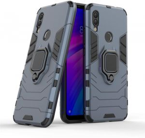 Xiaomi Redmi 7 Iron Man Rugged armor Hybrid anti Crack Phone Case Cover with Magnetic Ring Holder - Dark Blue