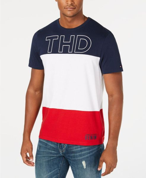 53a1347f7f Tommy Hilfiger Men's Granby Colorblocked Logo Graphic T-Shirt Navy white
