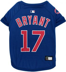 5b226c56e MLBPA Kris Bryant #17 TEE Shirt for Dogs & Cats. MLB Chicago Cubs Dog T- Shirt, Large | Sports Dress for Pets | Licensed Sporty Dog Shirt.