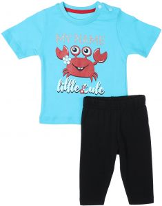 26e0066c9 Junior Cotton Printed T-shirt and Pants Unisex Set - Turquoise and Black