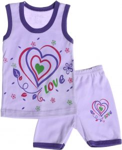 85f769224 Baby Dream Love Print Contrast Trim Tank Top with Shorts Pajama Set for  Girls - Purple