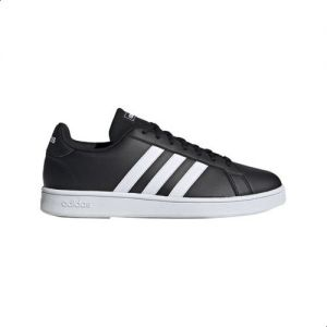 Adidas Grand Court Base Two Tone 3 Stripe Low Top Lace Up Tennis Sneakers for Men Core Black, 41 13