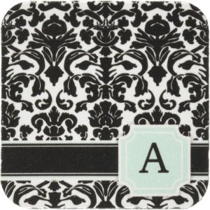 3D Rose Letter S Monogrammed Mint Blue Black and White Damask Pattern-Classy Personalized Initial Towel 15 x 22 Multicolor