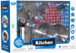 Xingxing Yuan Stainless Steel Kitchen Set Toy For Kids 9 Pieces