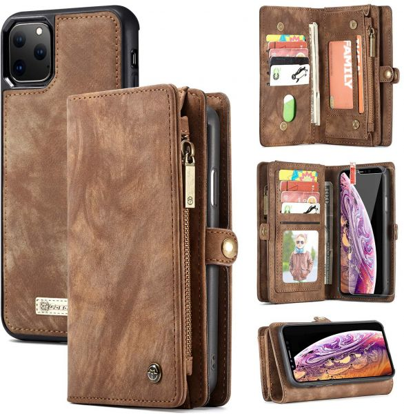2 in 1 Leather Zipper Detachable Magnetic 11 Card Slots Wallet Case For iPhone 11 Pro Max 6.5 Inch
