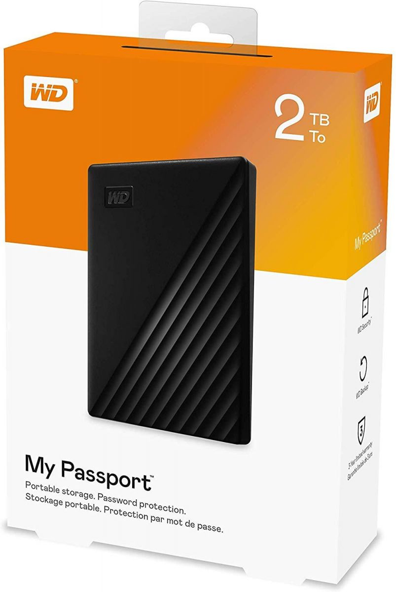 WD 2TB My Passport Portable External Hard Drive USB 3.0 - Black, WDBYVG0020BBK