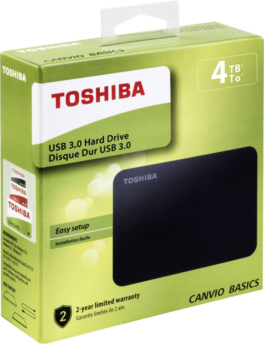 Toshiba 4TB Canvio Basics Portable External HDD 2.5 inch USB 3.0 - Black - (HDTB440EK3CA)